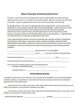 Minor Volunteer Parental Consent Form