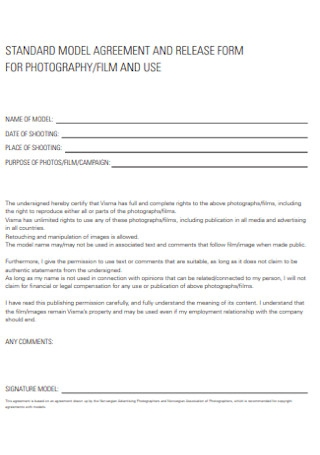 Model Agreement and Release Form