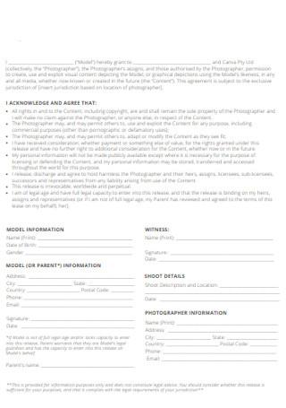 Model Release Form Format