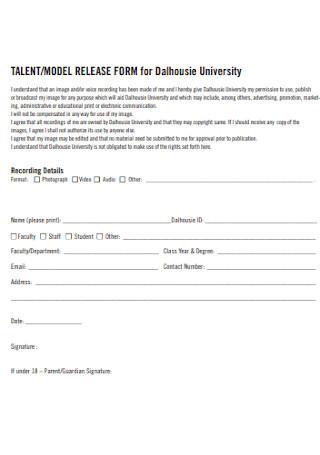 Model Release Form for University