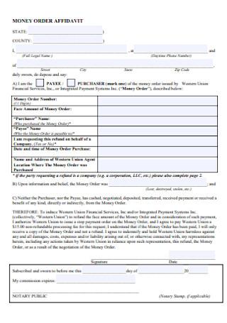 Money Order Affidavit Form