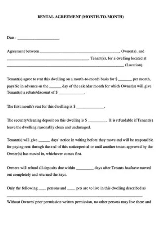 Month to Month Rental Lease Agreement