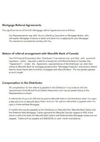 Mortgage Referral Agreements