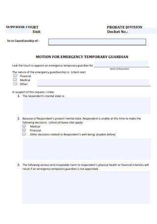 Motion for Temporary Guardianship Form
