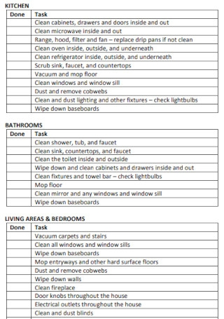 Move Out House Cleaning Checklist