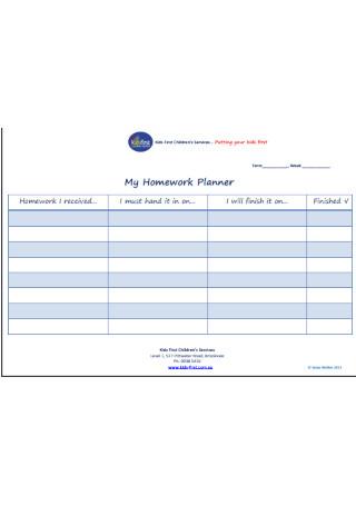 My Homework Planner