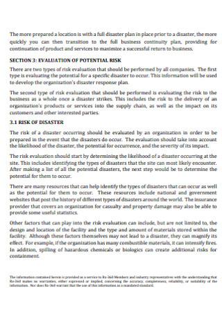 Natural Disaster Contingency Plan