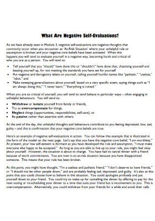 Negative Self Evaluations