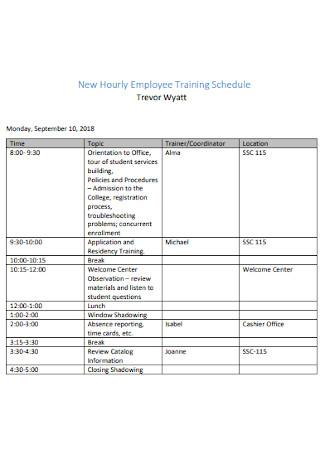 New Hourly Employee Training Schedule