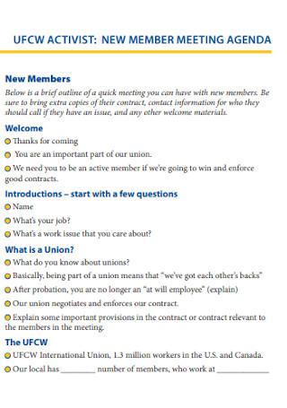 New Member Meeting Agenda