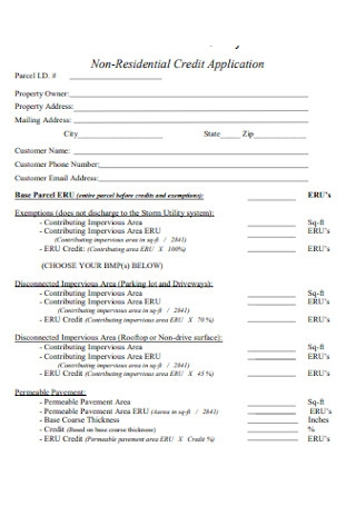 Non Residential Credit Application Form