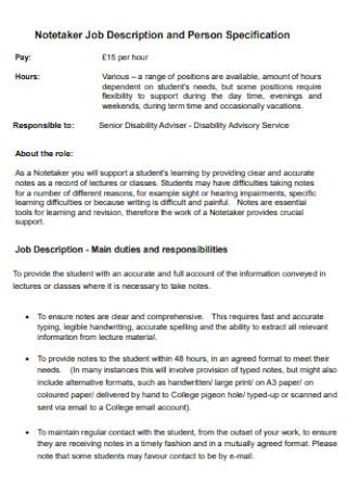 Notetaker Job Description