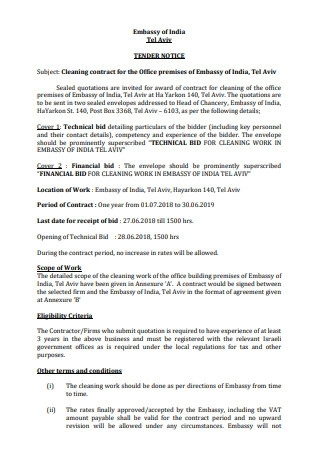 Office Cleaning Contract Proposal