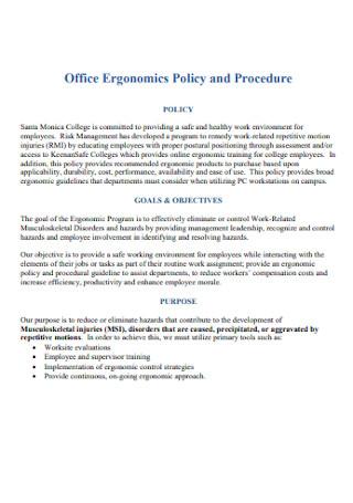 Office Ergonomics Policy and Procedure