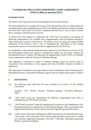 Oil Pollution Indemnification Agreement