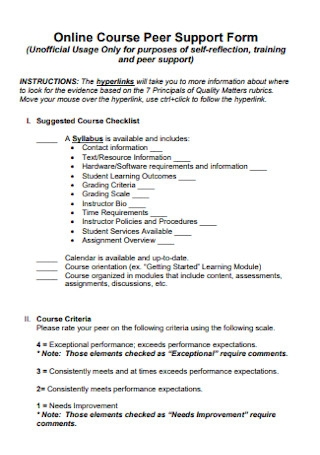 Online Course Peer Support Form