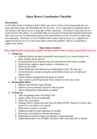 Open House Coordinator Checklist