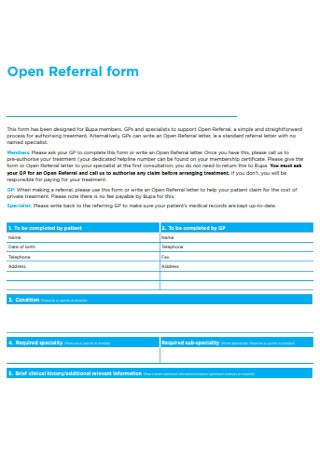 Open Referral Form