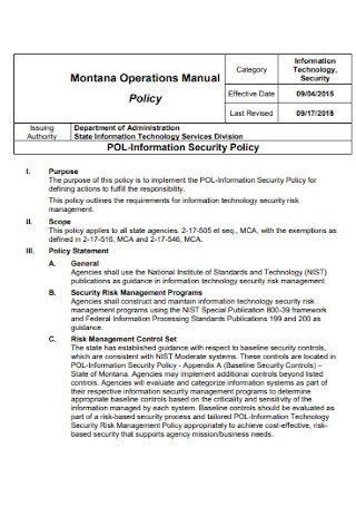 Operations Information Security Policy