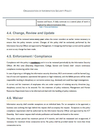 Organization of Information Security Policy