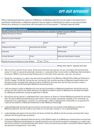 Out Affidavit Form