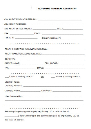Outgoing Referral Agreement