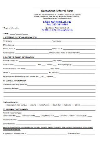 Outpatient Referral Form