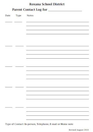 Parent Contact Log Form Sample
