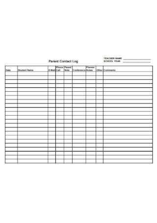 Parent Contact Log for Teachers