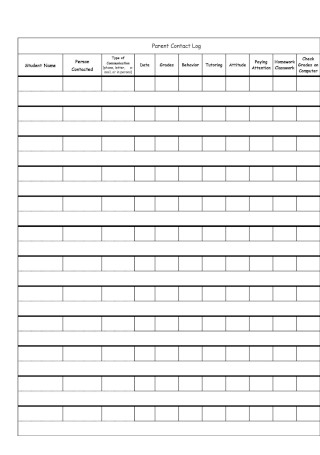 Parent Contact Log in Excel