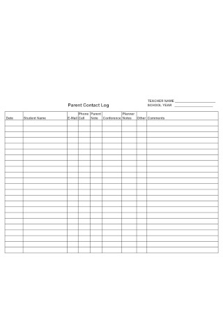 Parent Contact Log in Word