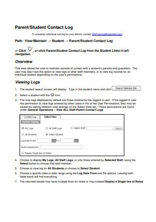 Parent Student Contact Log