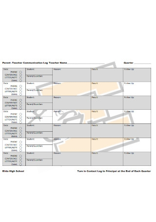 Parent Teacher Communication Log1