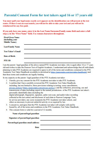 Parental Consent Form for Test Takers