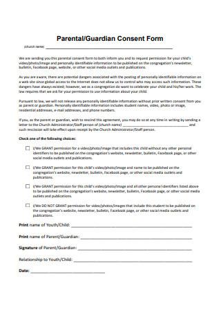 Parental Consent Social Media Form