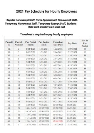 Pay Schedule for Hourly Employees