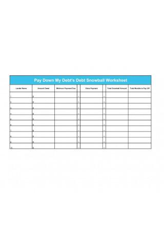 Paydown Debt Snowball Worksheet