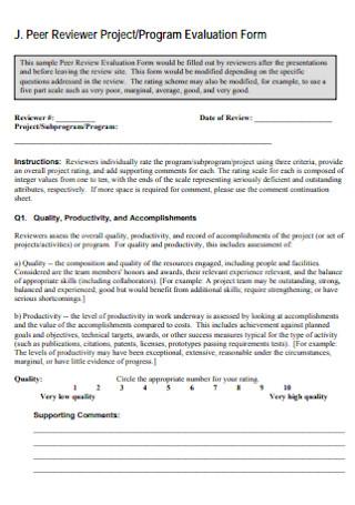 Peer Program Evaluation Form