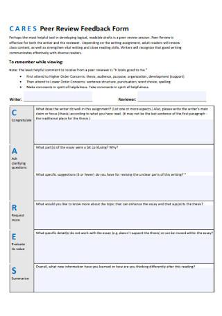 Peer Review Feedback Form