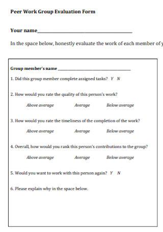 Peer Work Group Evaluation Form