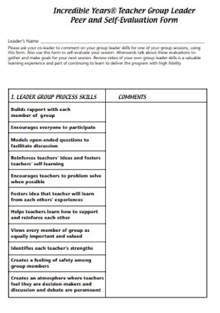 Peer and Self Evaluation Form