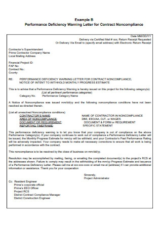 Performance Deficiency Warning Letter