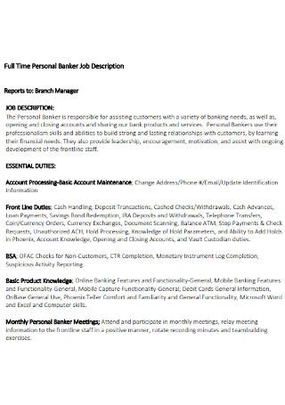 Personal Banker Job Description