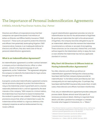 Personal Indemnification Agreements