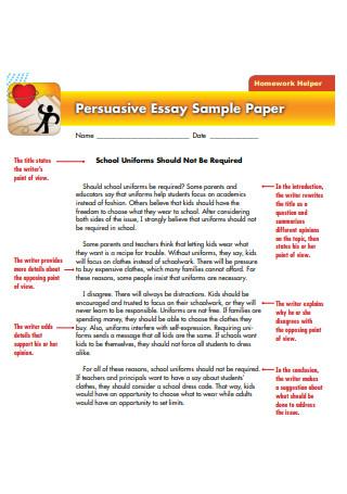 Persuasive Essay Sample Paper