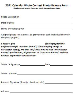 Photo Contest Photo Release Form