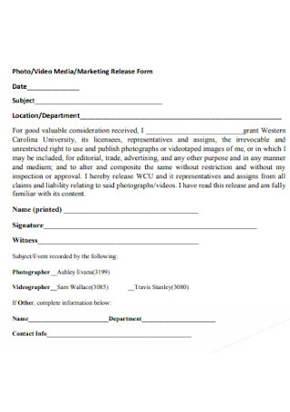 Photo Marketing Release Form