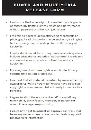 Photo Multimedia Release Form