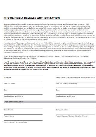 Photo Release Authorization Form