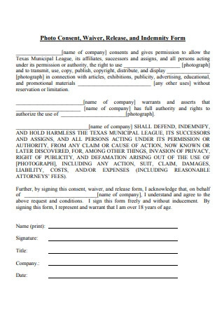 Photo Release Indemnity Form